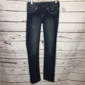 Chinese Laundry 26 distressed embroidered jeans